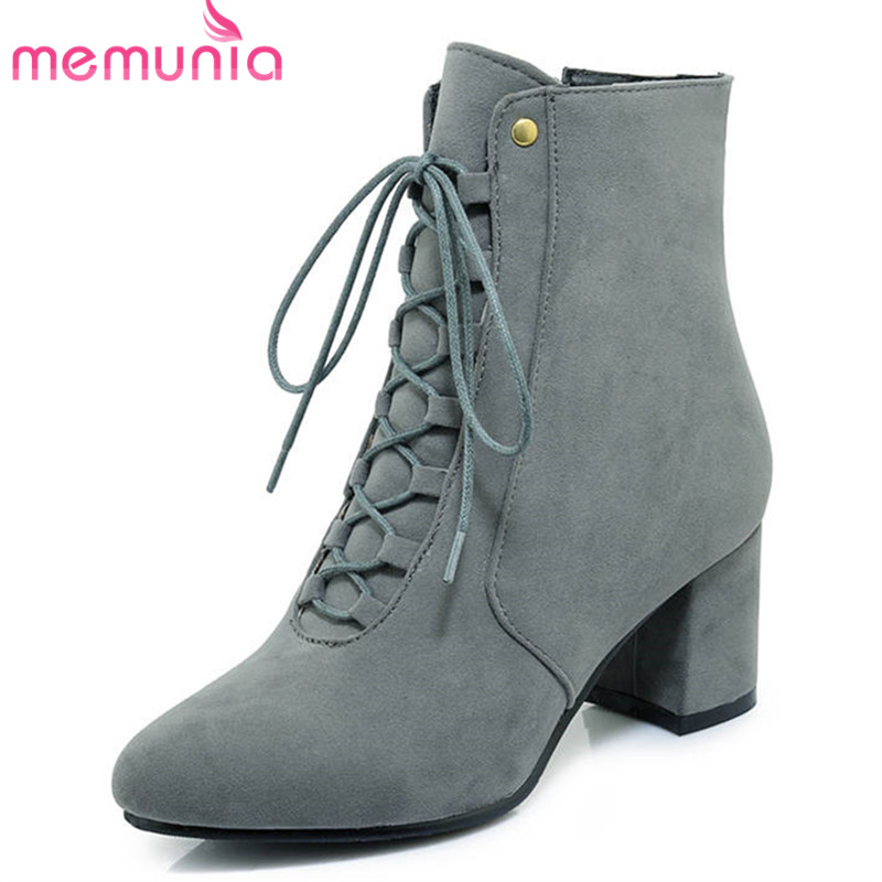 MEMUNIA 2018 new arrival autumn winter ankle boots for women zipper +lace up fashion boots high heels shoes dress ladies boots memunia 2018 new arrival knee high boots for women pointed toe suede leather boots zipper lace up autumn boots fashion shoes
