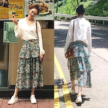 Brand fashion women's high-end Slim long-sleeved shirt + floral fresh cake skirt sets