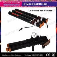 Triple head stage confetti gun triger electric ignition fire confetti cannon shooter