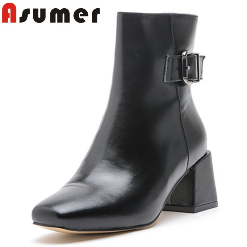 ASUMER 2018 NEW arrive ankle boots for women simple fashion genuine leather boots high quality classic square toe winter boootsASUMER 2018 NEW arrive ankle boots for women simple fashion genuine leather boots high quality classic square toe winter booots