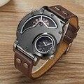 Лидирующий бренд, Роскошные мужские часы OULM, нержавеющая сталь, большой циферблат, двойное время, кожа, кварцевые часы, мужские часы, Relogio Masculino - фото