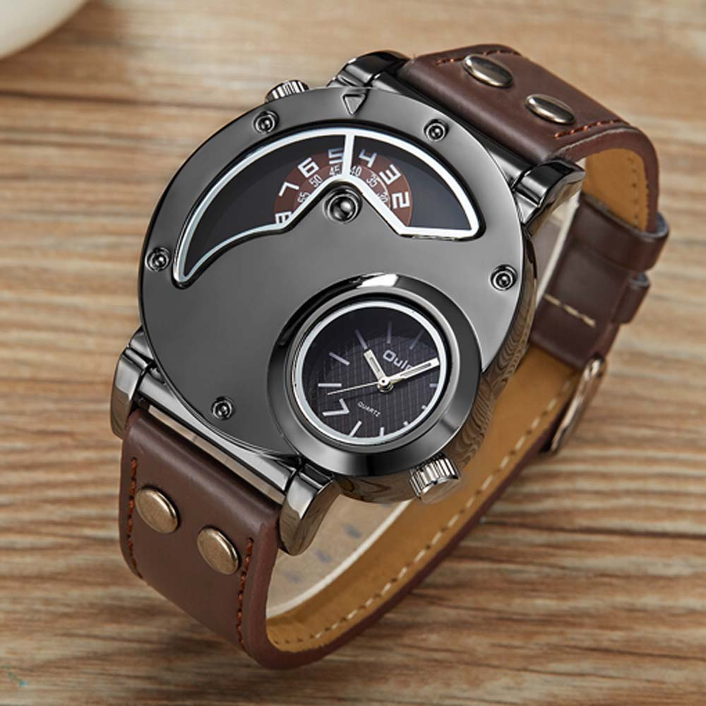 Top Brand Luxury OULM Men Watches Stainless Steel Big Face Dual Time  Leather Quartz Watch Men's Watches Relogio Masculino