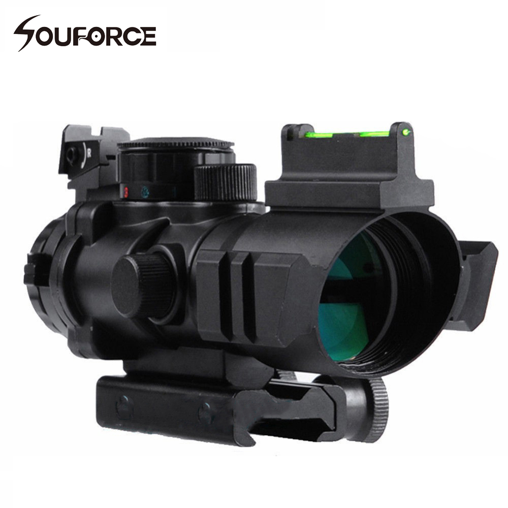 Tactical 4x32 Airsoft Gun Riflescope 20mm Dovetail Hunting Rifle Scope with Red/Green Reticle Fiber Optic Sight Scope