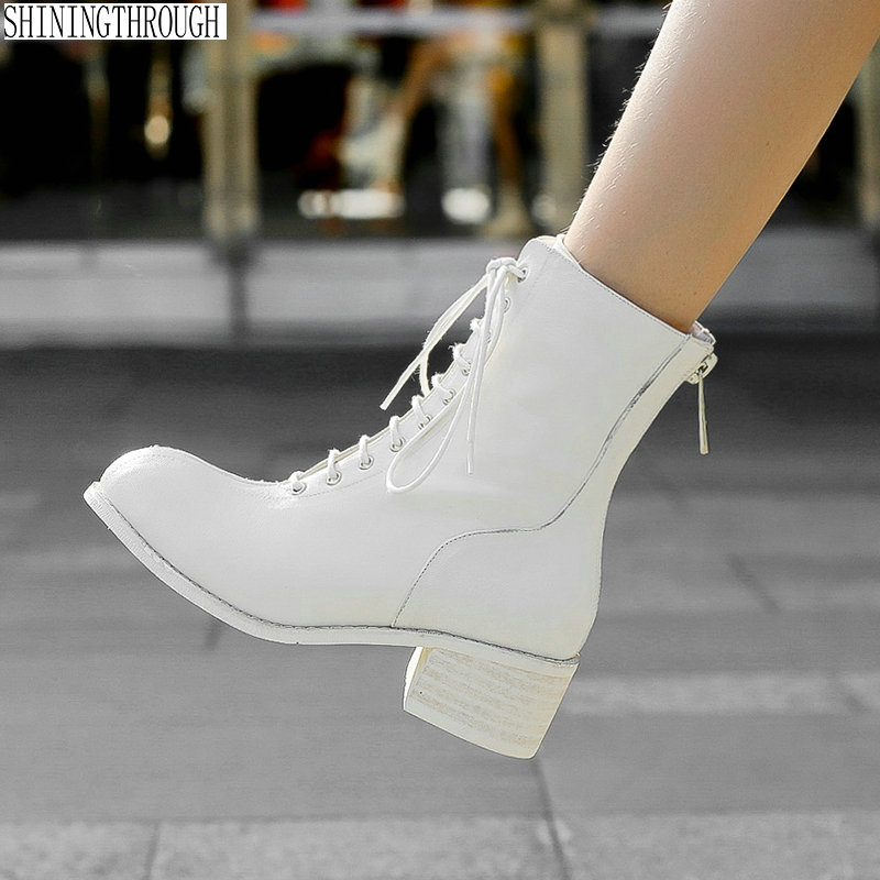 все цены на 100% Cow leather Women ankle boots woman 3cm low ladies casual shoes woman lace up autumn winter boots black red white