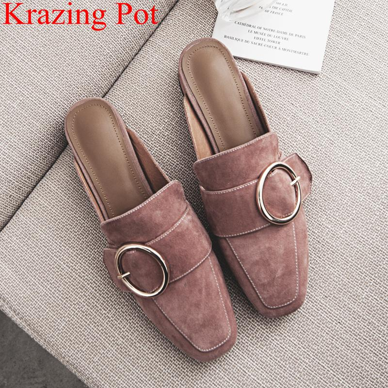 2018 big size classics retro low heels women sandals concise office lady mules square toe outside
