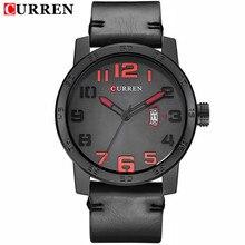 2016 CURREN Reloj de Los Hombres de Primeras Marcas de Lujo Famoso de Cuero Negro Cuarzo de Los Hombres Reloj Militar Curren Los Hombres Relojes Montre Homme
