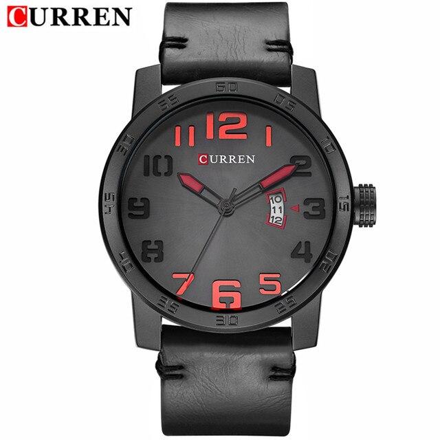 2016 CURREN Men Watch Luxury Top Brand Famous Leather Black Quartz Men Wrist Watch Military Curren Watches Men Montre Homme