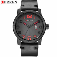 2016 CURREN Men Watch Luxury Top Brand Famous Leather Black Quartz Men Wrist Watch Military Curren