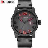 2016 CURREN Men Watch Luxury Top Brand Famous Leather Black Quartz Men Wrist Watch Military Curren
