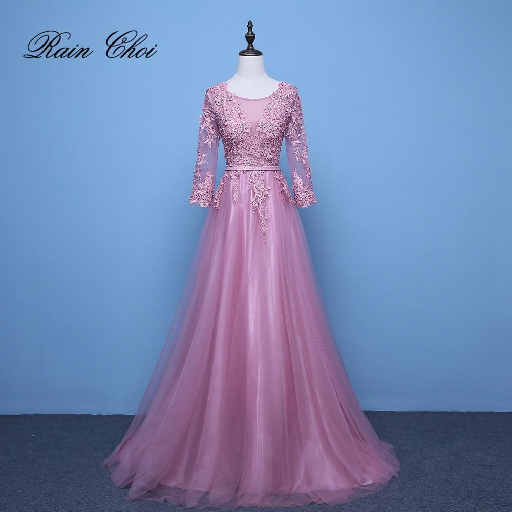 Pink Evening Dresses 3/4 Sleeves Appliques A Line Formal Party Gowns Long Prom Dress 2019 Vestido De Festa