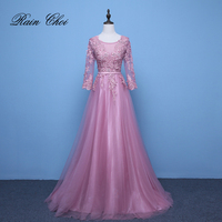 Pink Evening Dresses 3 4 Sleeves Appliques A Line Formal Party Gowns Long Prom Dress 2018