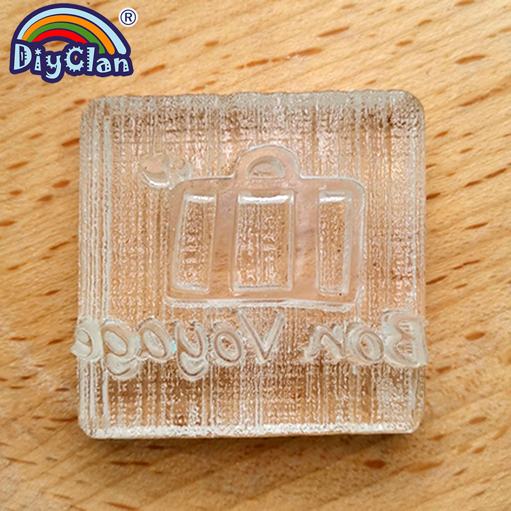 Bon Voyage Handmade Soap Making Stamp NEW Bag Pattern Clear Diy Natural Organic Stamps Glass Soap Seal Acrylic Chapter Tools0325 in Stamps from Home Garden