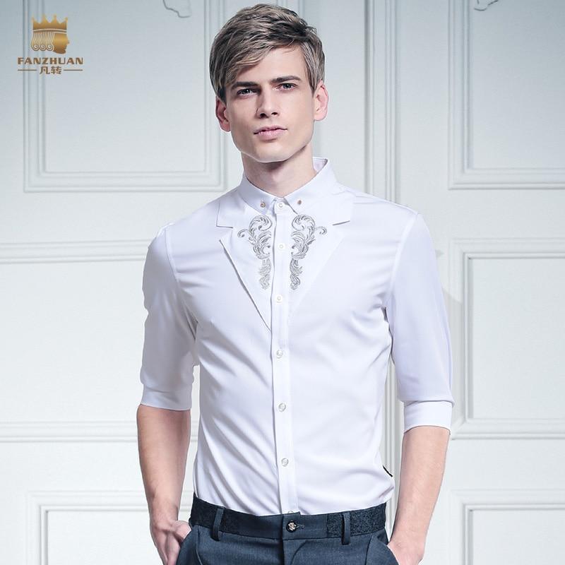 29a4d71eb401 R$ 182.03 5% de desconto|O envio gratuito de New casual masculino homens da  moda colarinho branco Duplo cor da costura bordado camisa Palácio de Prata  ...