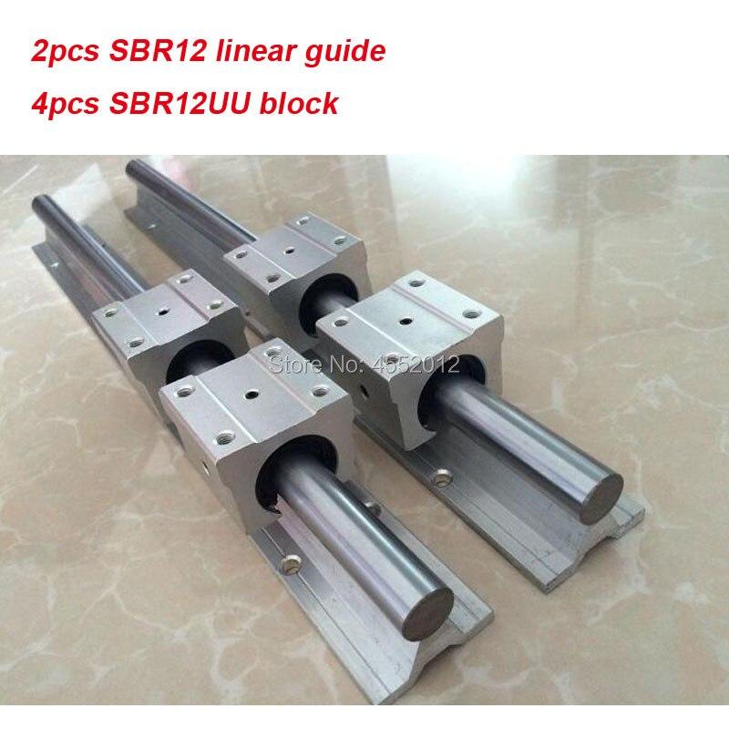 2 pcs SBR12 12mm linear rail 550mm 600mm 650mm 700mm 750mm 800mm 850mm 900mm 1000mm guia linear com 4 pcs SBR12UU parte cnc