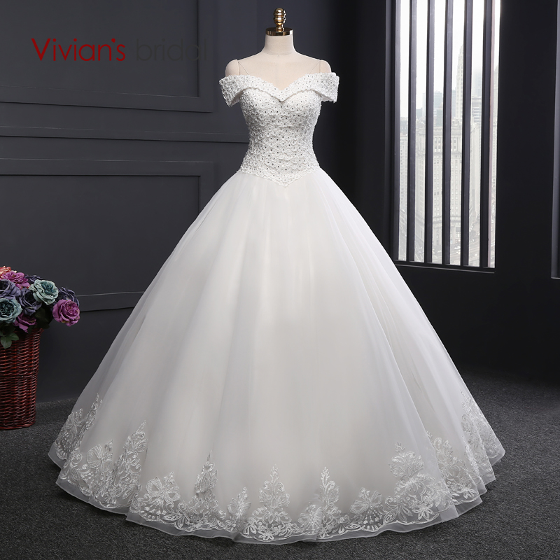 Vivian 39 s bridal a line wedding dress off shoulder beaded for Wedding dress western style