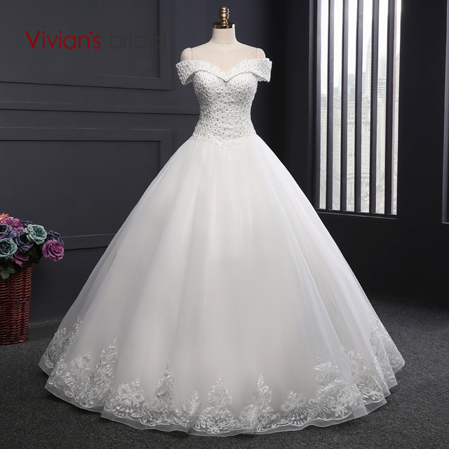 Vivian\'s Bridal A Line Wedding Dress Off Shoulder Beaded Sequin ...