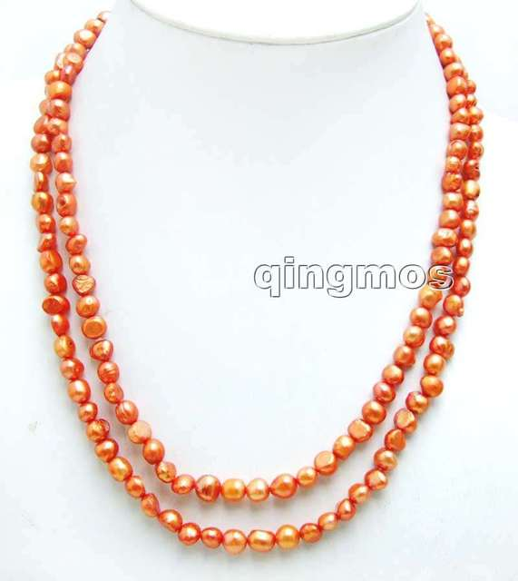 "Fashion Long 40"" Natural Red 6-7mm Baroque freshwater pearl necklace-nec6111 wholesale/retail Free shipping"