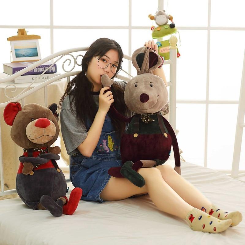 New 1pc 80cm Kawaii Cool Bear Rabbit Plush Toy Cartoon Bear Rabbit Stuffed Grizzly Gray White Bear Doll Kids Love Birthday Gift