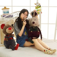 New 1pc 80cm Kawaii Cool Bear Rabbit Plush Toy Cartoon Stuffed Grizzly Gray White Doll Kids Love Birthday Gift