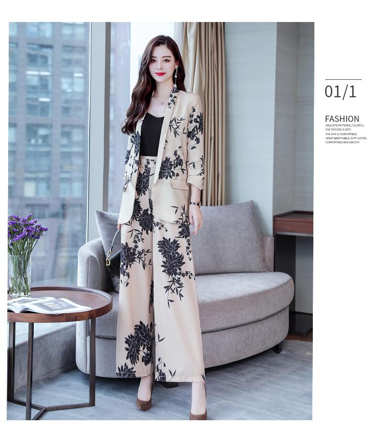 YASUGUOJI New 2019 Spring Fashion Floral Print Pants Suits Elegant Woman Wide-leg Trouser Suits Set 2 Pieces Pantsuit Women 22