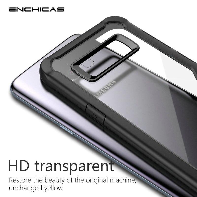 Enchicas Мягкий Бампер ТПУ с HD прозрачный акриловый назад чехол для телефона для Samsung Galaxy Note 8 <font><b>S8</b></font> плюс тонкий шок asorption крышка Капа