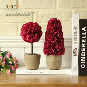 Fashion clay rustic flower pot rose artificial plants artificial flower set fake rose flowers