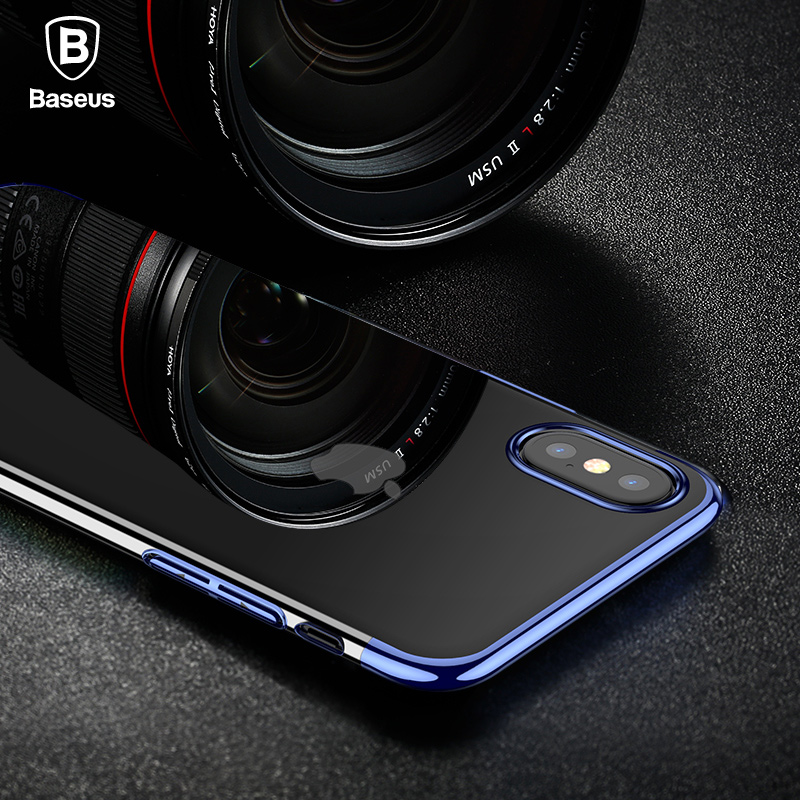 Baseus transparent Case For iphone X Cases Glitter Series Plating Hard PC Plastic Shell for iPhone X Back Cover