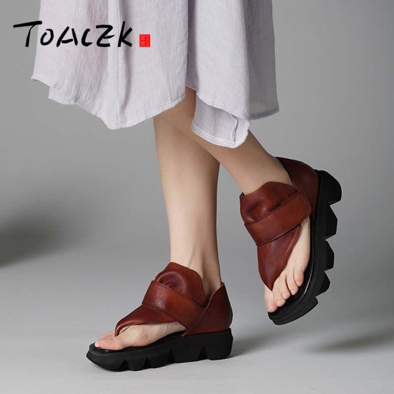 2019 夏の本革の女性のサンダルプラットフォームウェッジラウンドつま先足首ストラップハイヒールの女性の靴サンダル  グループ上の 靴 からの ミドルヒール の中 1