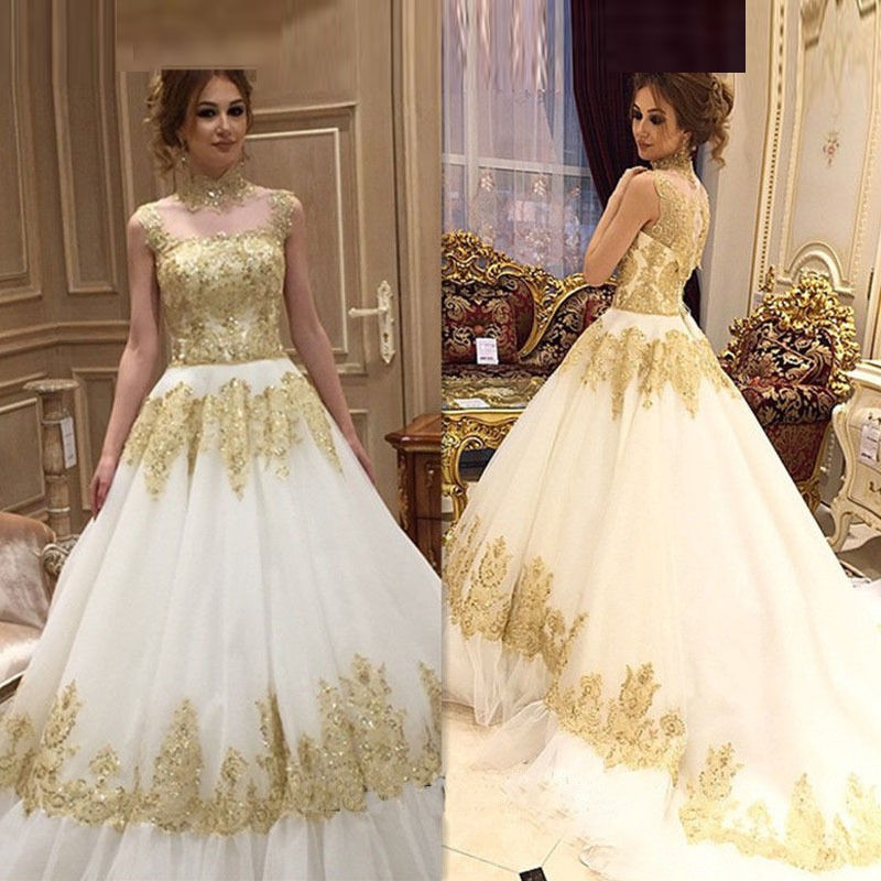 Luxury princess wedding dresses abaya arab sparkly gold for Luxury ball gown wedding dresses