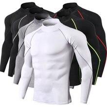 Camisas de compressão de gola alta dos homens do halterofilismo camiseta de manga longa superior dos ginásios t camisa de fitness apertado rashgard
