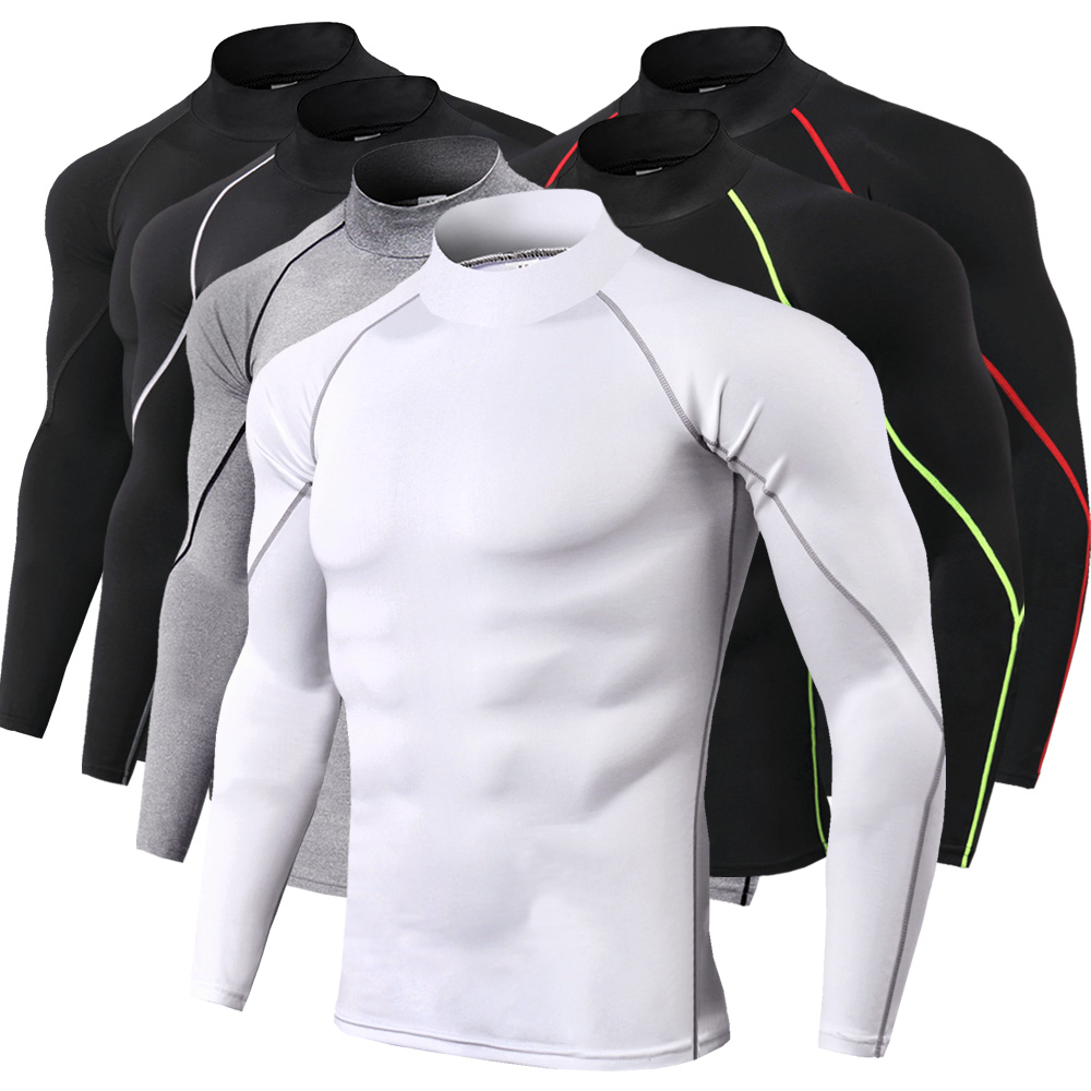 High collar Compression   Shirts   Men Bodybuilding Sportswear   T  -  shirt   Long Sleeve Top Gyms   T     Shirt   Men Fitness Tight Rashgard