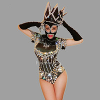 Custom Style Sexy Nightclub Clothes Black Rhinestone Bodysuit Dj Crystal Jumpsuit Woman Stage Outfit Stage Costumes For Singers