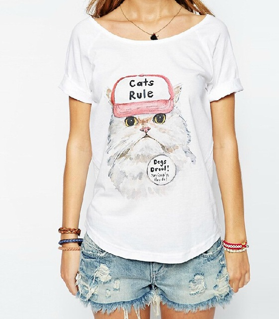 "Summer Style ""Cats Rule"" Printed T Shirt"