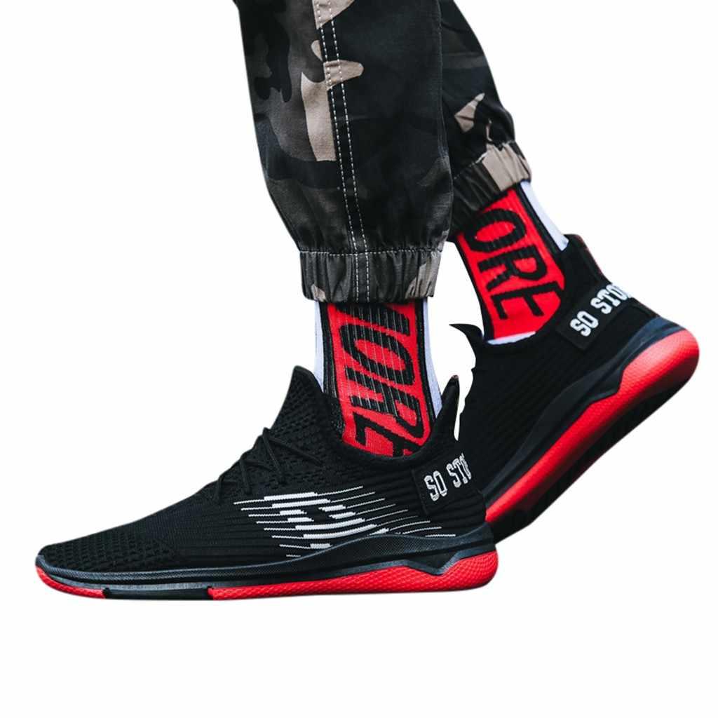 CHAMSGEND yaz erkek nefes rahat örgü spor ayakkabı hafif rahat spor trendi kaymaz koşu ayakkabıları