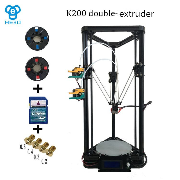 the newest design HE3D full metal extruder hotend K200 dual heads delta 3d printer kit support