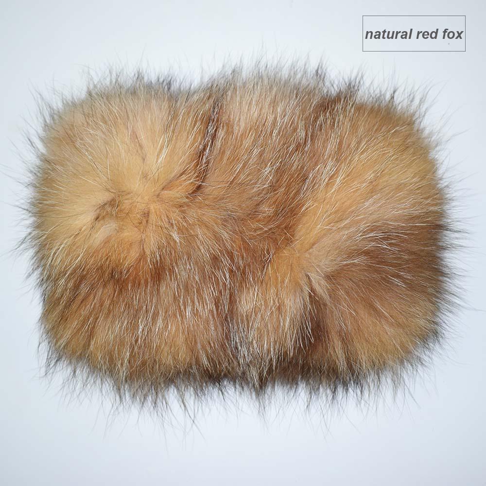 fox fur headband color red fox