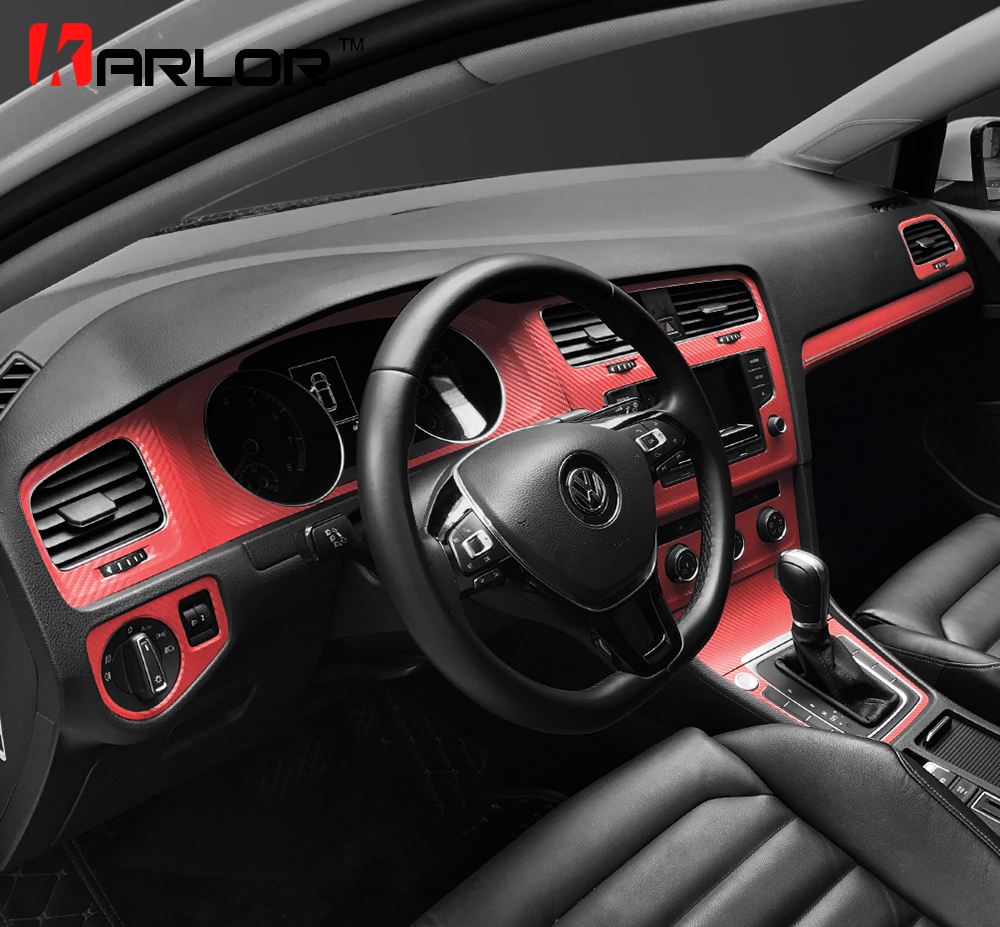 Interior Sport Red Carbon Fiber Protection Stickers Fibra Decals Auto Car styling For VW Volkswagen Golf 7 MK7 GTI Accessories