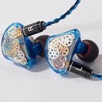 Toneking ts5 4ba com 1 dd custome feito na orelha fone de ouvido engrenagem colorida feito sob encomenda híbrido em torno da orelha fone de ouvido com cabo mmcx