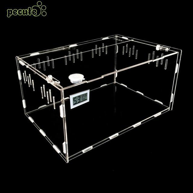 Прозрачный пэт-box Портативный рептилий домашних животных Рептилия Террариум прочный рептилия окно насекомых Dorpshipping