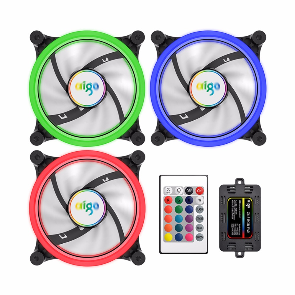 3 Pack Aigo Z6 Cooling Fan Aurora Rgb 120mm Adjust Led 4 Pin Silent Installing Electric On A C3 Computer Case Cooler Pc Exhaust Quiet Radiator Ir Remote In Fans From
