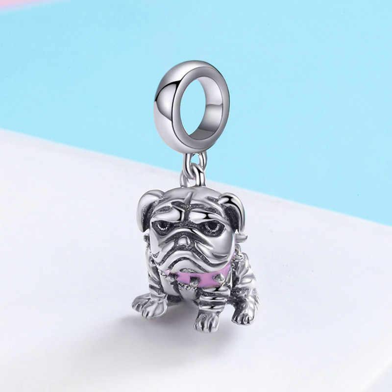 MOWIMO Bulldog Dog Dangle Charms 925 ลูกปัดสัตว์ Fit Pandora สร้อยข้อมือจี้เครื่องประดับทำ BKC552