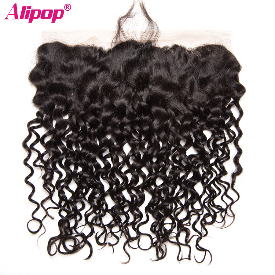 ALIPOP Water Wave 13x4 Swiss Lace Ear to Ear Lace Frontal Closure Hair Extension Remy Human Hair Natural Black Can Be dyed