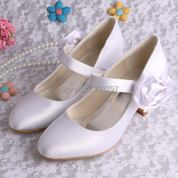 Custom Handmade Mary Jane Flower Heels Satin Wedding White Shoes Round Toe Ladies