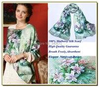 Bufanda 100 de Seda Pura 100% Pashmina de Seda Atar-teñido de Naranja y Azul Impreso Mujer Foulard de Seda de la Seda de La Manera de las mujeres de árabe bufandas
