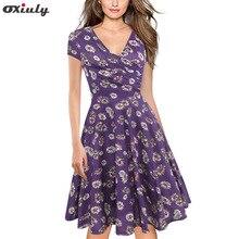 Oxiuly Sexy Dark Blue Purple Floral Summer Dress Women V-neck Short Sleeve Wedding Party Vintage A Line Dress Vestido De Festa