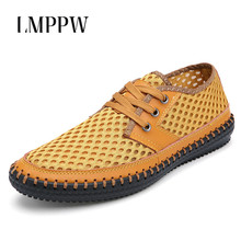Fashion Outdoor Mens Shoes Summer Breathable Mesh Casual Soft Comfortable Lace Up Men Fisheman Big Size