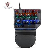 лучшая цена Motospeed K27 Single Hand Mechanical Computer PC PUBG Gaming Keyboard 27 key Wired USB 9 LED Backlit Tablet Desktop sticker gamr