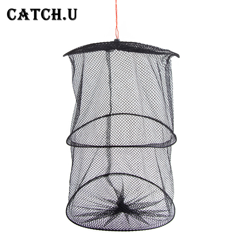 Portable 3 Layer Fishing Net Round Folding Fish Shrimp Mesh Cage Cast Net Fishing Trap Network Fold Landing Net