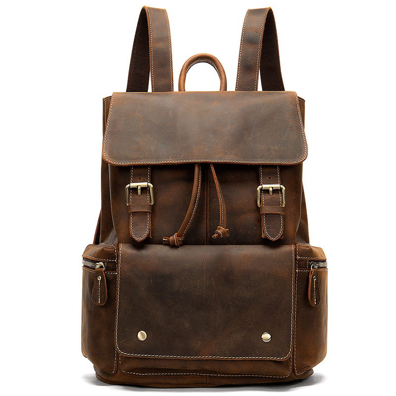 Nesitu High Quality Vintage Brown Coffee Genuine Crazy Horse Leather Women Men Backpacks Real Skin Travel Bags M8507