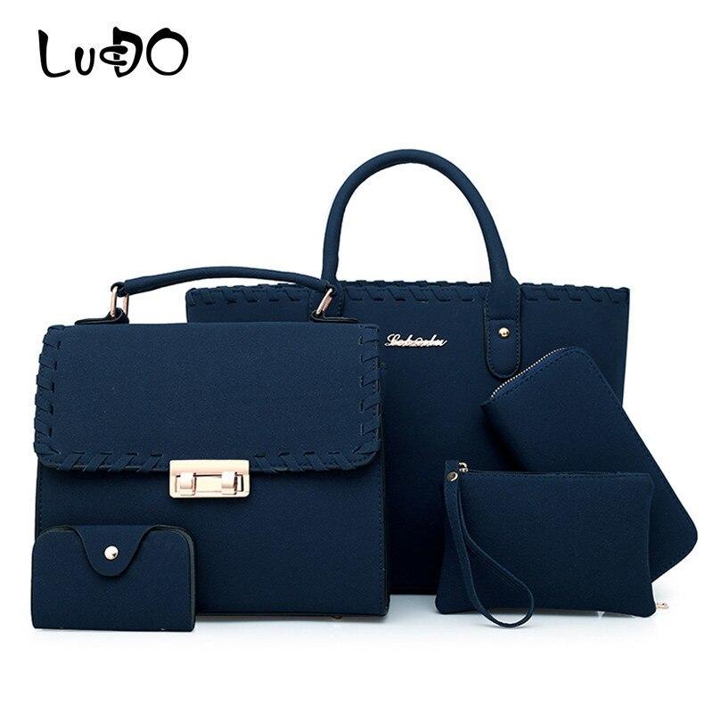 LUCDO 5 pièces/ensemble Composite sac à main épaule bandoulière sacs pour femmes grande capacité sac fourre-tout femmes luxe sac femelle embrayage bolsas